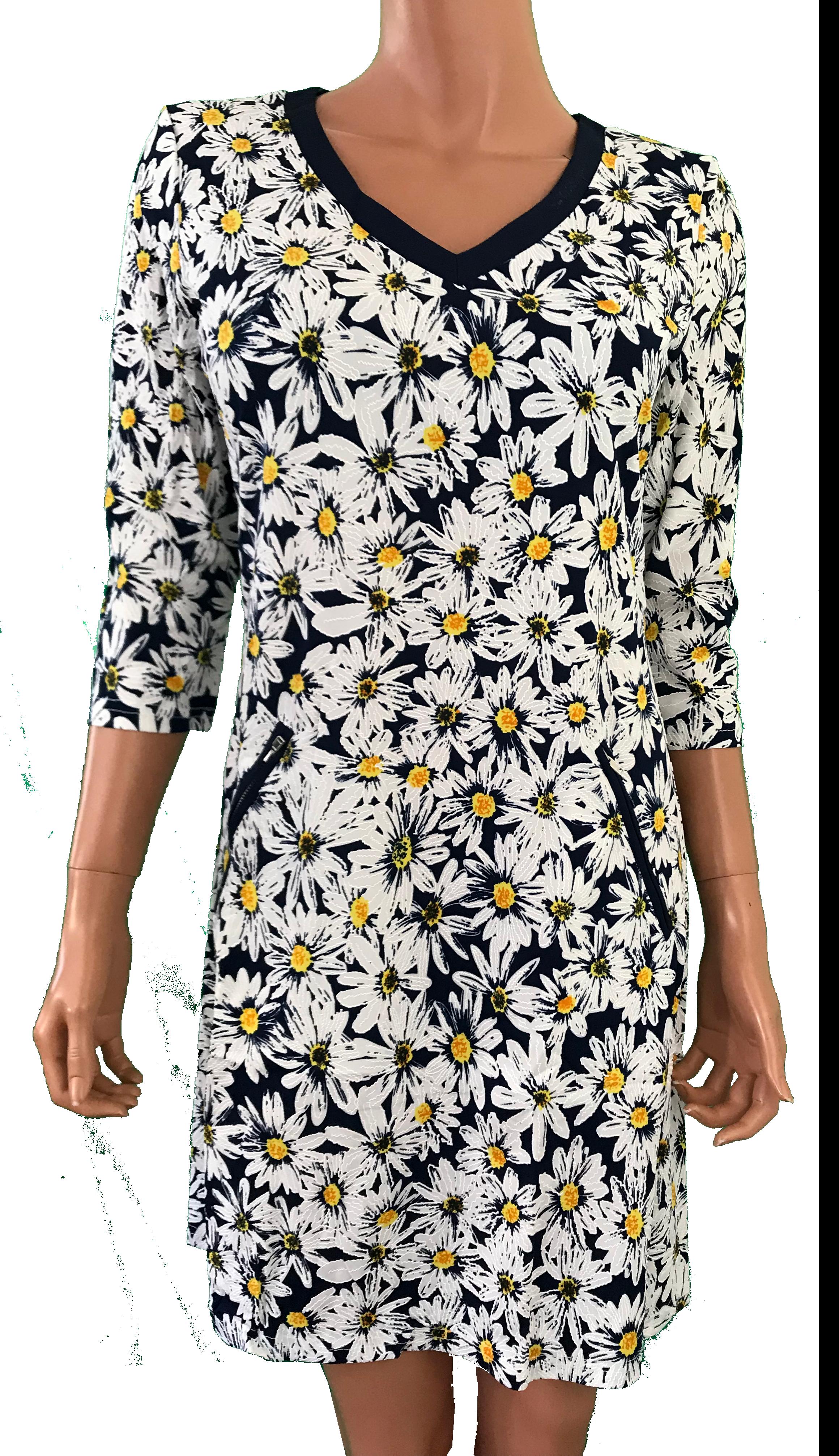 Smashed Lemon kjole med gule margueritter