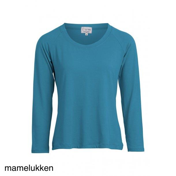 Charles Design Bluse Karen - Langt ærme - Petrol/Jeansblue