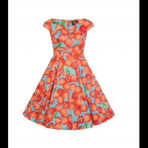 30ee267b79d7 Pige 50 er kjoler - Sort bund røde Kirsebær - Hearts   Roses ...