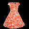 Pige 50'er Kjole - Kirsebær - Orange og Hvid